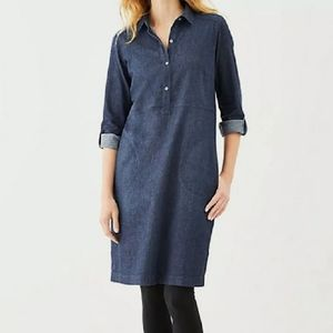J JILL Denim Pullover Shirt Dress with Pockets Med